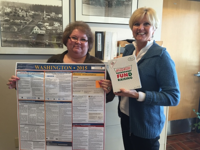 Betsy Williams and Beckie Jensen, our first recipients of the 2015 labor posters!