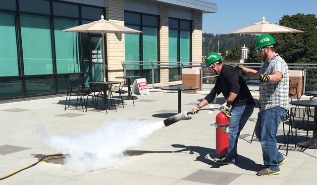 Fire extinguisher training was one of the funnest exercises performed!