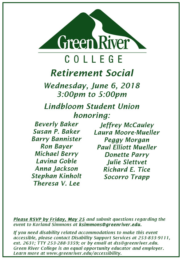 Save the Date Retirement Social 2018