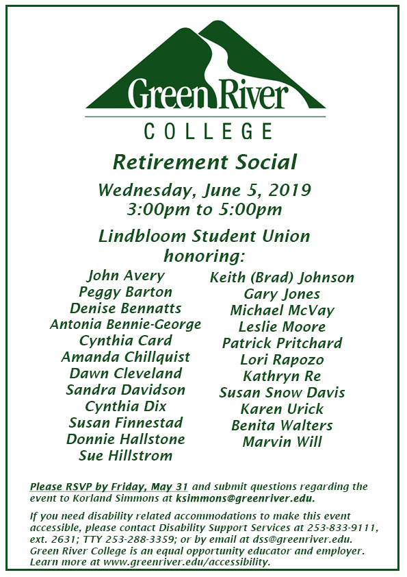 Save the Date Retirement Social 2019